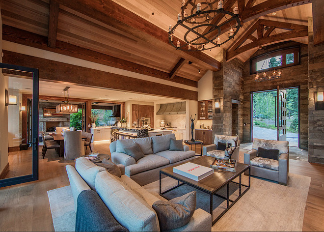 Rustic Living room. Rustic Living room furniture. Rustic Living room reclaimed wood floors. Rustic Living room decor. Rustic Living room ceiling. Rustic Living room fireplace. #Rustic #Livingroom #interiors