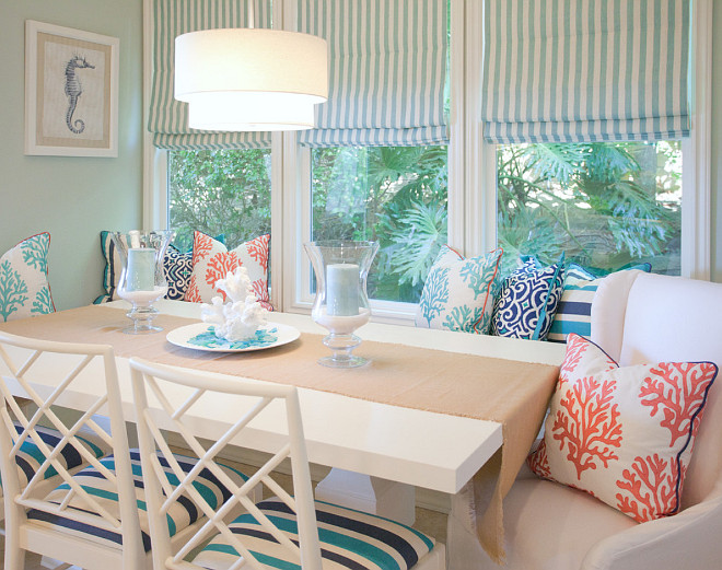 Breakfast Nook. Coastal Breakfast Nook. Coastal Breakfast Nook Decor. Coastal Breakfast Nook Bench Pillows. Coastal Breakfast Nook Colors. Coastal Breakfast Nook Ideas. Coastal Breakfast Nook Design. #Coastal #BreakfastNook AGK Design Studio.