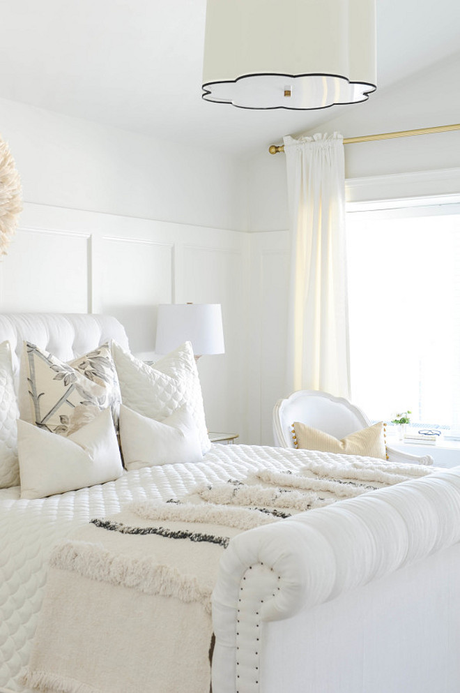 White Bedroom Paint Color. White Bedroom Paint Color Ideas. Wall paint color is Benjamin Moore White Dove. Trim paint color is Benjamin Moore Simply White. Ceiling paint color is half-formula Benjamin Moore White Dove.