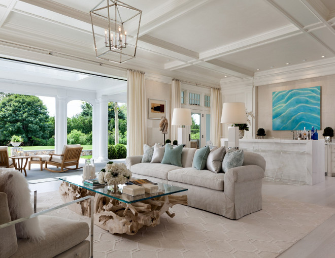 Living Room. Chic Living room with neutral decor and Darlana Medium Lantern in Polished Nickel. Gorgeous neutral living room with Darlana Medium Lantern. #DarlanaLantern #LivingRoom #Chic #Interiors Sotheby's Homes.