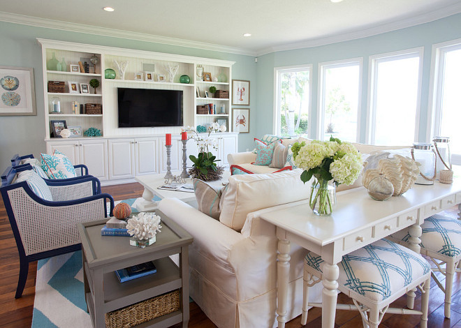 Coastal Paint Color. Coastal Interior Paint Color. Coastal Home Paint Color Ideas. Coastal Paint Colors. The coastal paint color used in this room is Salt Water from Frazee 8591W. #Coastal #PaintColor AGK Design Studio.