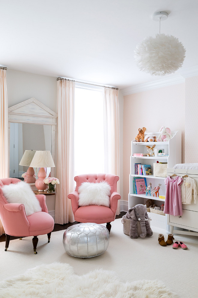 Babys girl nursery. Baby girl nursery with pale pink walls. #BabyGirl #Nursery #PalePink Chango & Co. Photo by Ball & Albanese.