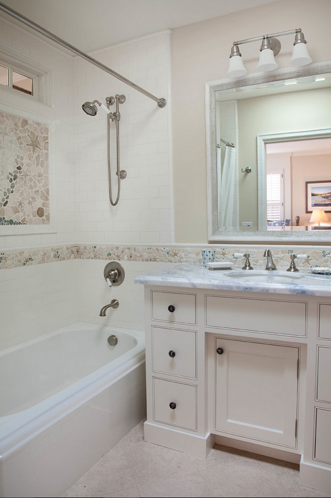 Bathroom Coastal Tiles. Bathroom Coastal Tile Ideas. Bathroom Coastal Tile Design. Neutral Bathroom Coastal Tiling. #Bathroom #Coastal #Tile Kim Grant Design Inc.