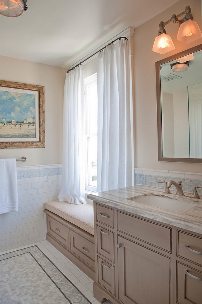 Bathroom window seat. Bathroom with built in window seat. #Bathroom #windowseat #Builtin Kim Grant Design Inc.
