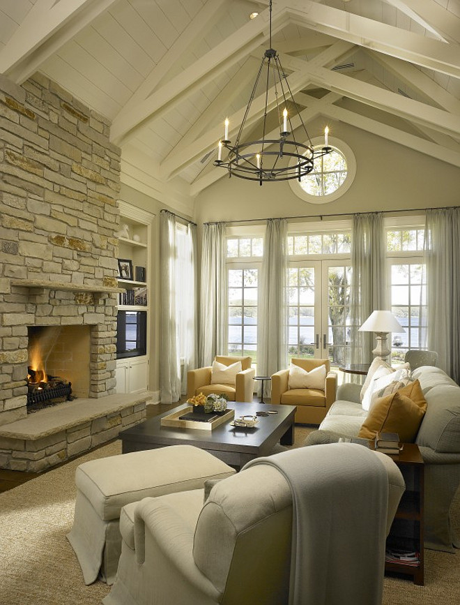 Beach House Living Room With Vaulted Ceilings. Hickman Design Associates.