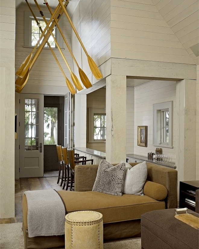 Beach house foyer. Beach house foyer with boat oars on ceiling. #Beachhouse #oars Hickman Design Associates.
