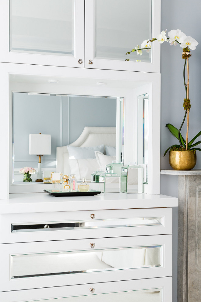 Bedroom Built in Cabinet. Custom built-ins with beveled mirrors in the master bedroom. Chango & Co. Photo by Ball & Albanese.