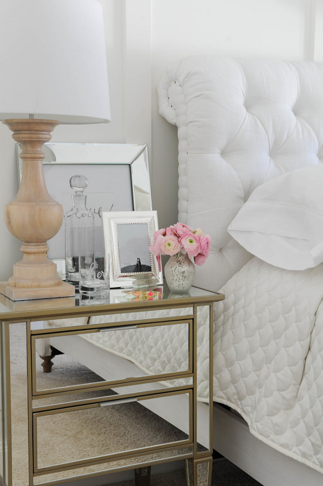 Bedroom Mirror Nightstand. Mirror, Side Table, Nightstand, Lamp, Bedroom Decor Monika Hibbs.