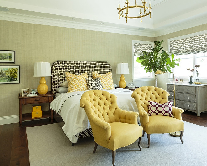 Bedroom grasscloth. Master Bedroom grasscloth. Traditional Bedroom with grasscloth wallpaper. Bedroom with grasscloth wallpaper and a Classic Ring Chandelier from Circa Lighting. #bedroom #grasscloth.
