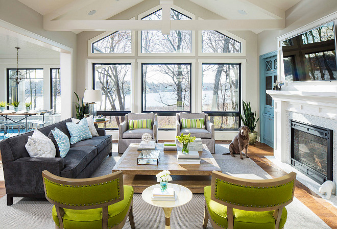 Lake House with Coastal Interiors - Home Bunch Interior Design Ideas
