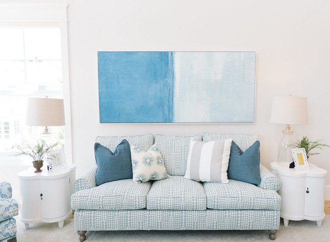 Blue and white sofa fabric ideas. Beach house with blue and white sofa - fabric. Four Chairs Furniture.