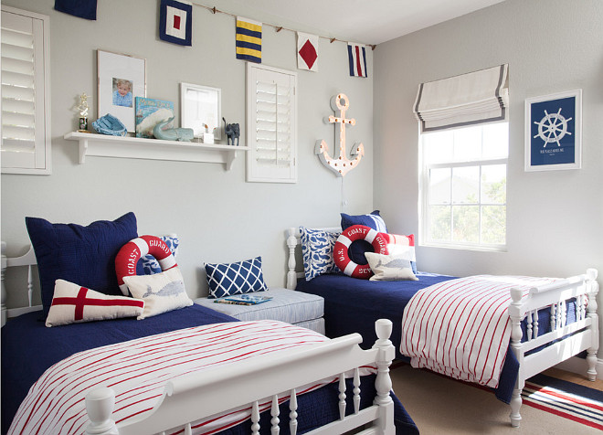 Blue sailor themed boys' bedroom. Blue sailor themed boys' bedroom decor ideas. Blue sailor themed boys' bedroom design. #sailorthemedBedroom #boysbedroom AGK Design Studio.