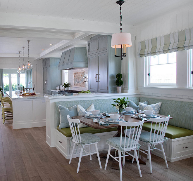 Built in banquette. Open kitchen with built in banquette. L shaped built in banquette in breakfast room. #builtinbanquette #banquette #breakfastroom #Lshapebanquette Kim Grant Design Inc.