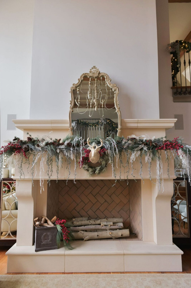 Christmas Fireplace. Christmas Fireplace Decor. Christmas Fireplace Decorating Ideas. Christmas Limestone Fireplace. #Christmas #Fireplace #ChristmasDecoratingIdeas Gatehouse No.1.