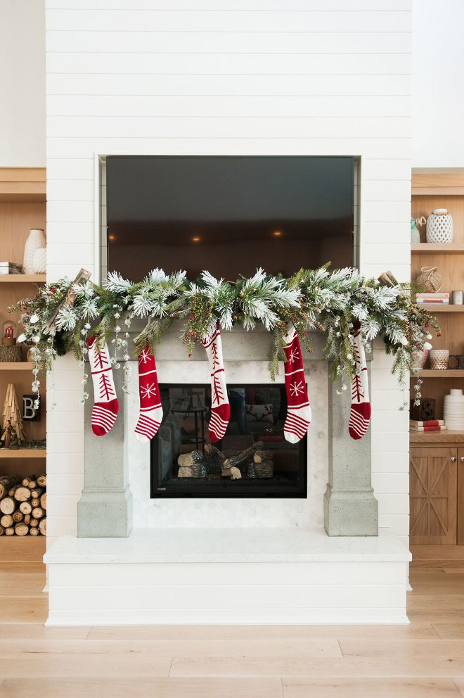 Christmas Fireplace. Christmas Mantel Fireplace with Stockings. #Christmas #Mantel #Fireplace #Stockings Gatehouse No.1.