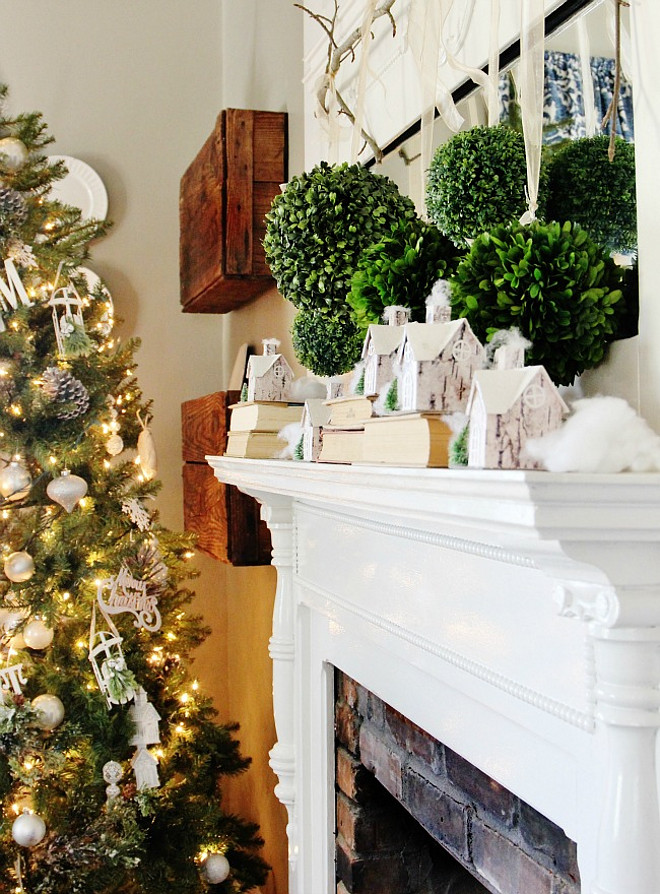Christmas Mantel. Boxwood Christmas Mantel Decor. Boxwood Christmas Mantel Ideas. Boxwood Christmas Mantel Decorating Ideas. #Boxwood #Christmas #Mantel Thistlewood Farms.