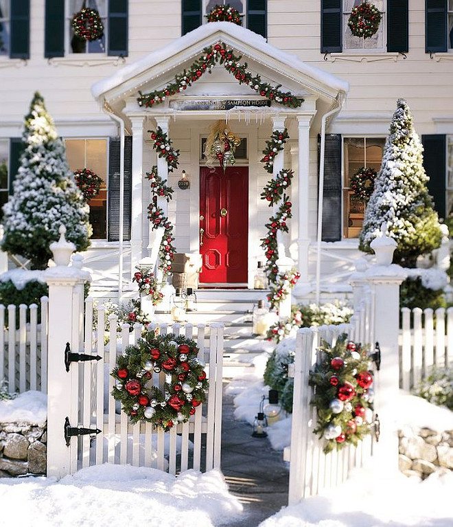 Christmas Outdoor Ornament Pine Wreath and Garland. Via Pottery Barn.