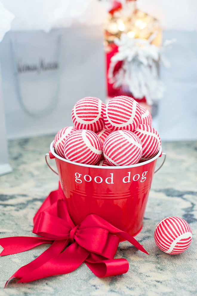 Christmas Pet Gift Ideas. Great Christmas Pet Gift Harry Barker Red Dog Bucket with Stripe Play Balls from Horchow. #Christmas #Pet #Gift Rachel Parcell Pink Peonies.