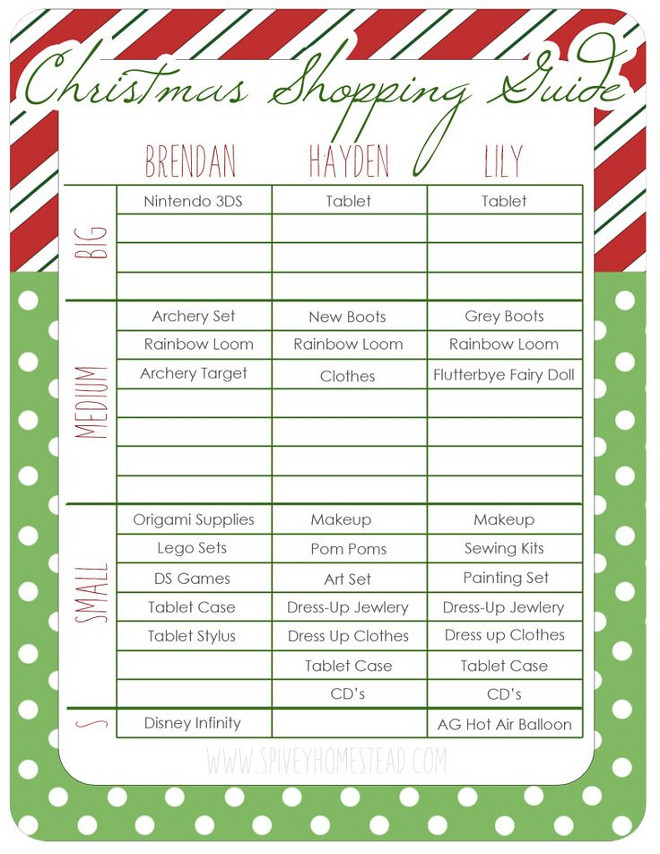 Christmas Shopping List Printables. Free Printables. Christmas shopping list printables. Organize your Christmas shopping list. #Christmas #Shopping #list #Printables Via Spivey Homestead.