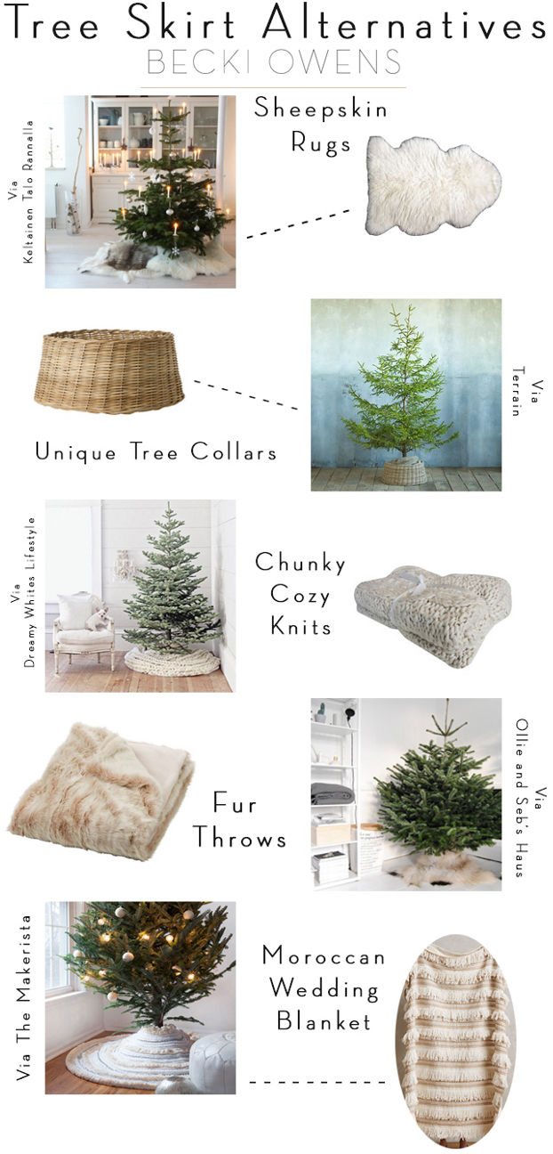 Christmas Tree Skirt Ideas. Many fun ideas to use as Christmas Tree Skirt. #ChristmasTreeSkirt By Becki Owens.