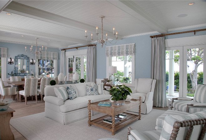 Coastal open concept interiors. How to paint and decorate open concept interiors. Open concept interiors. #openconcept #interiors #coastalinterior Kim Grant Design Inc.