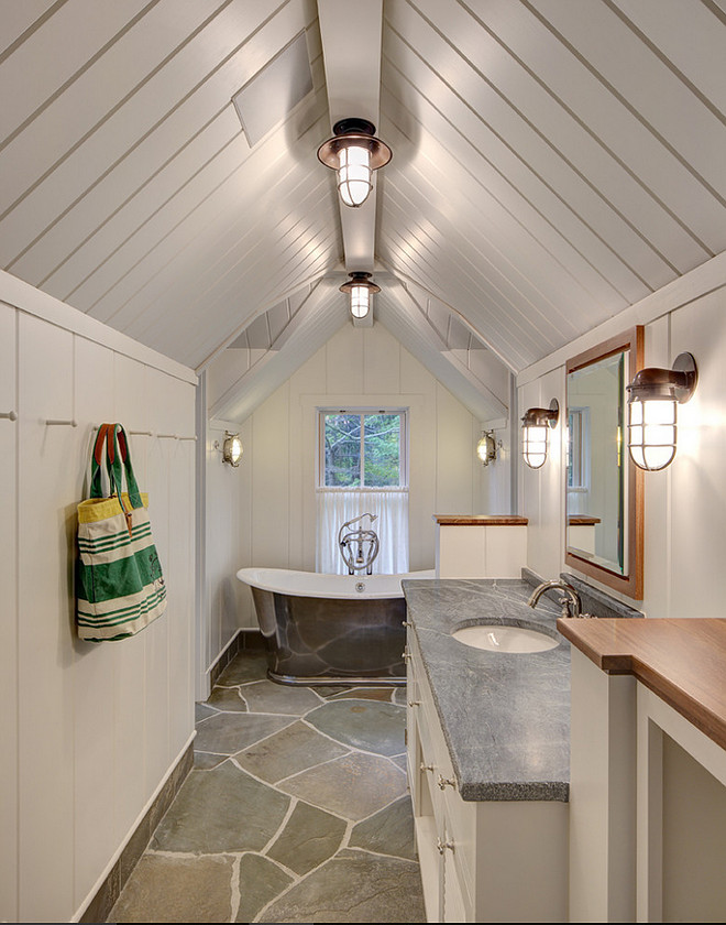 Cottage Bathroom with Blue Stone Paver Flooring. #BlueStonePavers #Flooring Colby Construction.