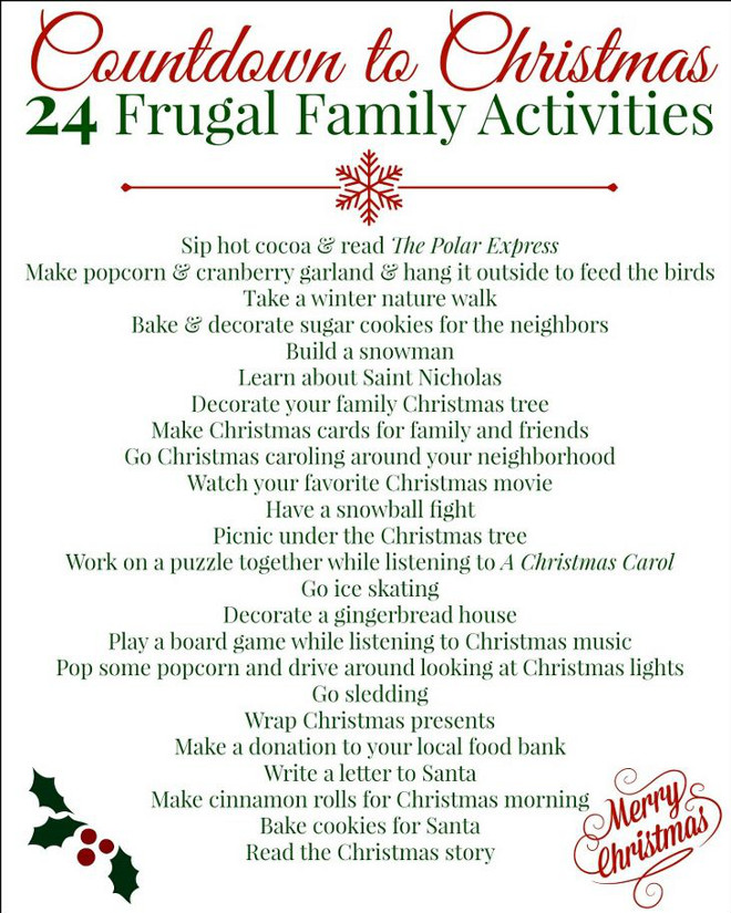 Countdown to Christmas Activities. Fun activities to do before Christmas. Frugal Home School Family.