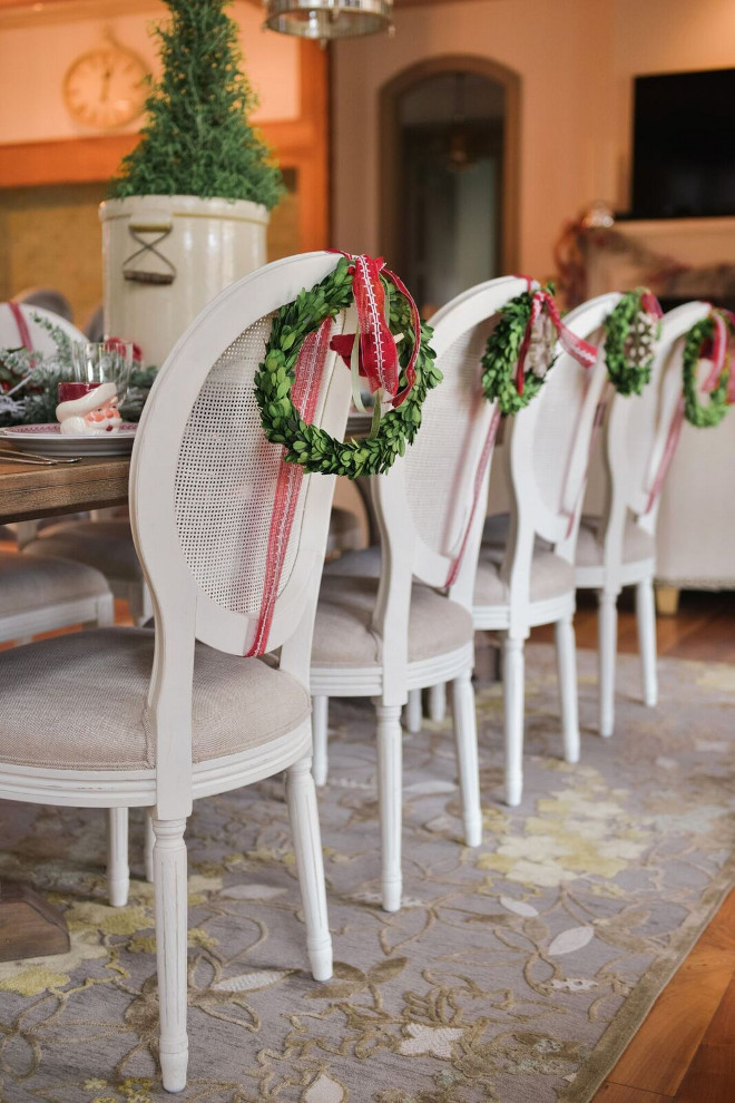 Dining Chair Wreath. Dining Chair Wreath Ideas. Mini wreaths on the back of dining chairs. #DiningChair #Wreath Gatehouse No.1.