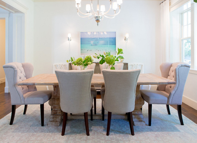 Dining Room Table. Whitewashed dining room table. The Whitewashed dining room table is from Dovetail Furniture. #DiningRoom #Table #DovetailFurniture #WhitewashTable Braun + Adams Interiors.
