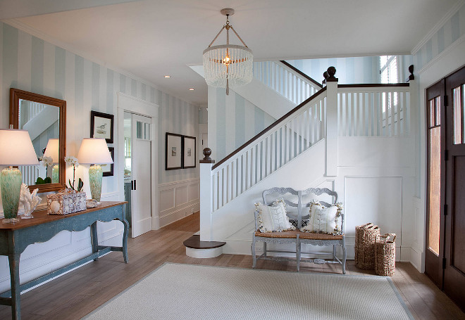 Foyer Striped Wall Paint Color. Foyer Striped Wall Paint Color Ideas. Foyer Striped Wall Paint Color. The chandelier is Serena and Lily. #Foyer #StripedWalls #PaintColor #CoastalPaintcolor
