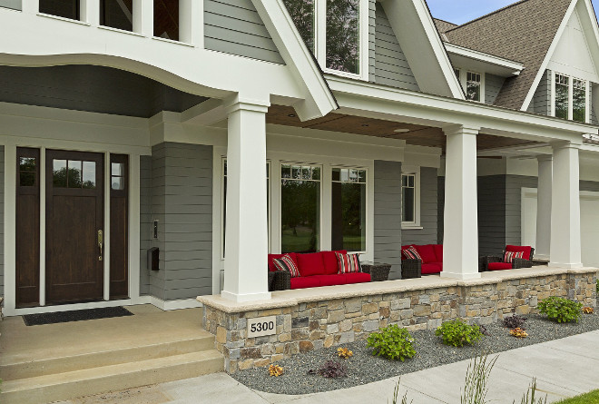 Front Porch with Craftsman Tapered Columns. Craftsman Tapered Column Stone. Craftsman Style Tapered Column Stone Ideas. #CraftsmanStyle #Tapered #Column #Stone #Porch Great Neighborhood Homes.