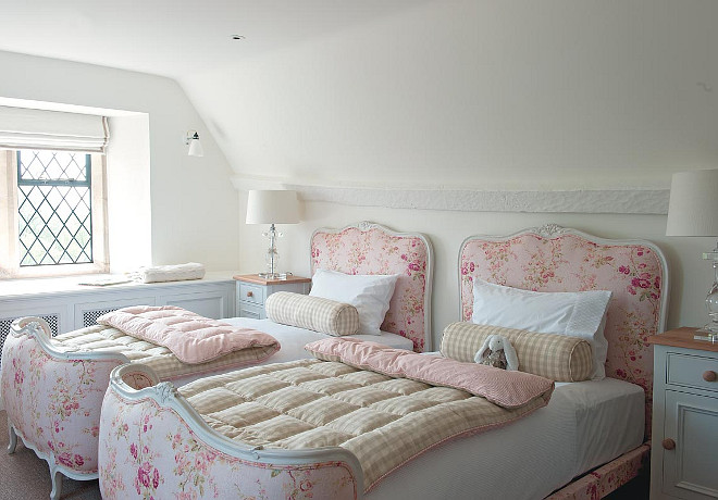 Girls Bedroom. Girls Bedroom Ideas. Antique Beds in Girls Bedroom. #GirlsBedroom Sims Hilditch.