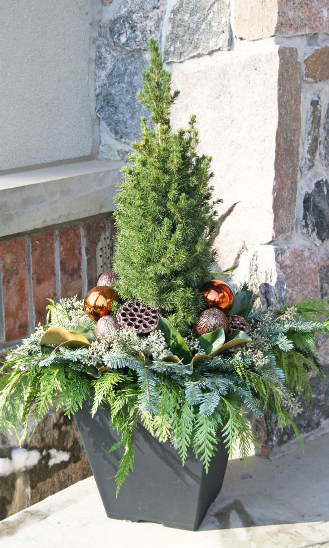 How to create a beautiful Outdoor Christmas Planter. Via Deb Fahn Pinterest.