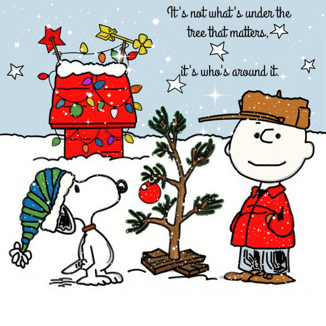 It's not what's under the tree that matters, it's who's around it.Charlie Brown, Charlie Brown Christmas and Brown.