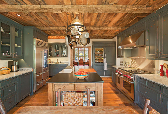 Kitchen reclaimed wood ceiling. Rustic Kitchen reclaimed wood ceiling. Rustic Kitchen with reclaimed wood ceiling and distressed cabinets. #Rustic #Kitchen #ReclaimedWood #Ceiling #Distressed #Cabinet