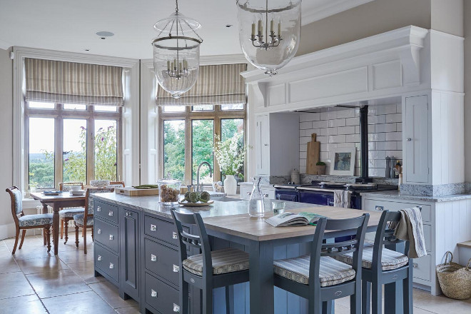 Kitchen with Blue Gray Island. Kitchen with Blue Gray Island Paint Color. Blue Gray Kitchen Island #BlueGray #KitchenIsland Sims Hilditch.