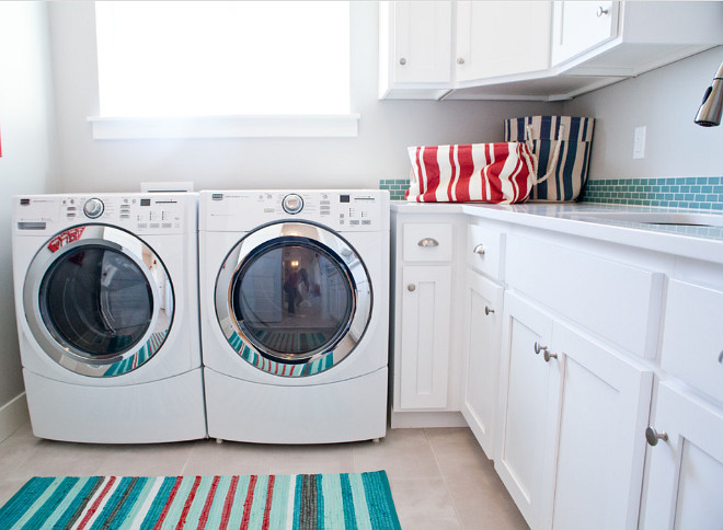 Laundry Room. White and turquoise Laundry Room. Laundry Room Rug. Laundry Room Runner. #LaundryRoom Four Chairs Furniture