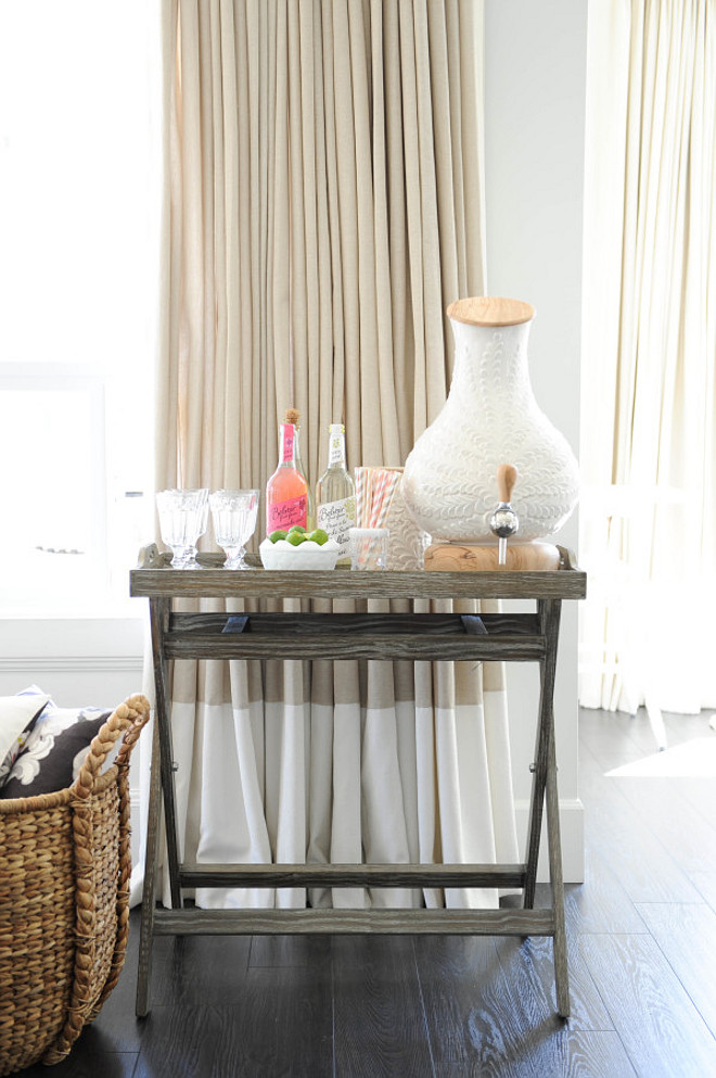 Living Room Bar Cart Ideas. Living room Drink Dispenser, Side Table, Beige, Curtains, Bar Cart #LivingRoom #BarCart
