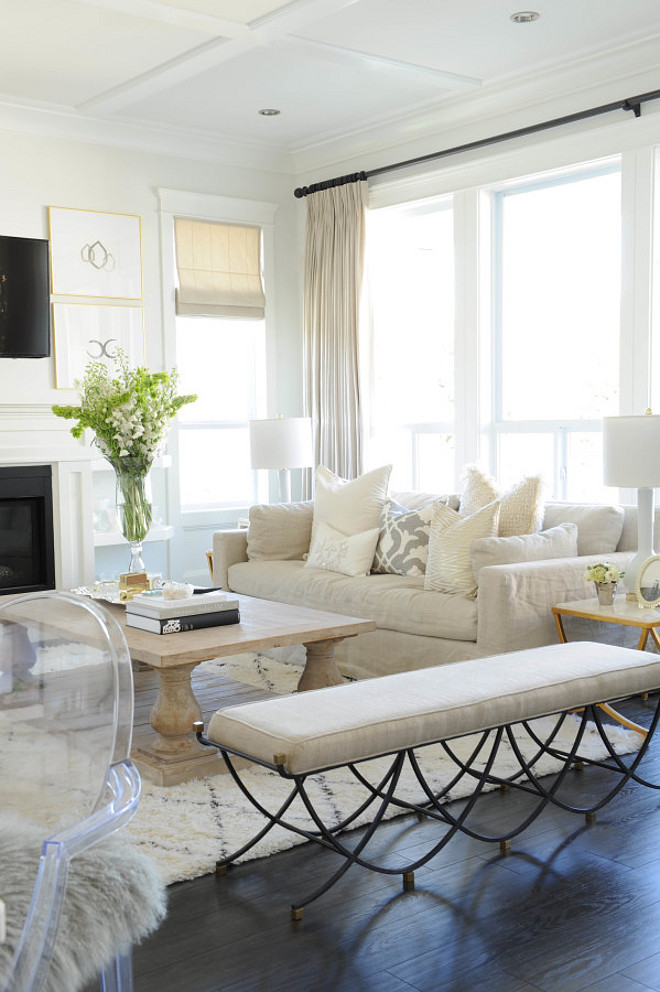 Living room. White, Neutral, Beige, Curtains, Sofa, Living Room, Decor, Bench Monika Hibbs.