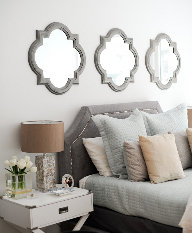 Mirror above bed ideas. Mirror above bed. Clover mirror above bed. Three clover mirrors above headboard bed. #Mirror #Bed #Bedroom Fashionable Hostess.