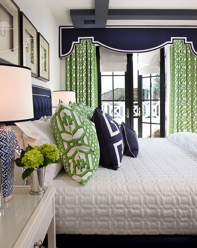 Navy and Green Bedroom. Gorgoeus bedroom with navy and green decor. #Bedroom #Navy #Green #Decor