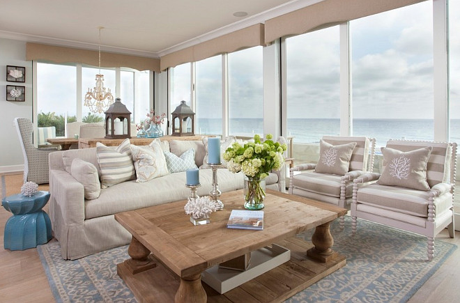 Neutral Living Room with Coastal Decor. Waterfront neutral living room with coastal decor. #Neutral #LivingRoom #CoastalDecor AGK Design Studio.
