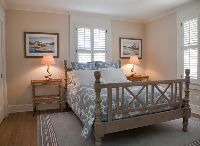 Neutral coastal bedroom. Neutral costal bedroom with rope lamps. #Neutral #Bedroom #CoastalBedroom #RopeLamps Kim Grant Design Inc.