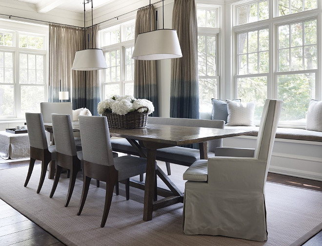 Ombre curtains. Ombre curtain ideas. Ombre curtain colors. Ombre curtains in dining room. #Ombrecurtains Hickman Design Associates.