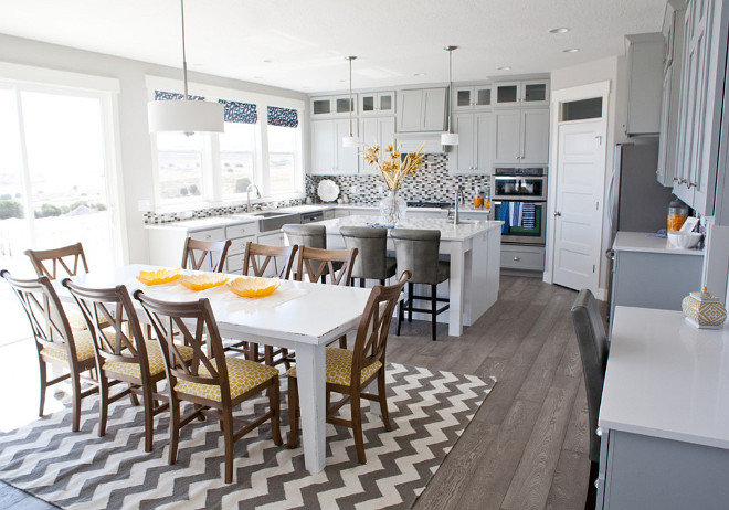 Open Gray Kitchen Ideas. Open concept gray kitchen. Open layout gray kitchen. #GrayKitchen #Openconcept Four Chairs Furniture.