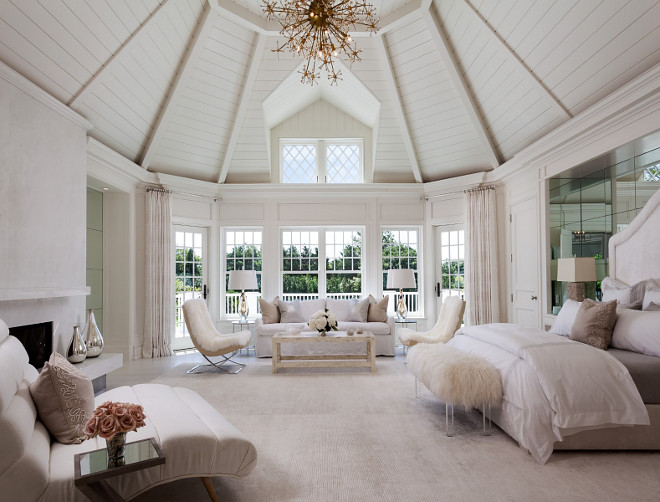 Plank Ceiling. Master Bedroom Ceiling. Gorgeous all white master bedroom with stunning white plank ceiling. #MasterBedroom #Ceiling #Planl #Plankceiling Sotheby's Homes.