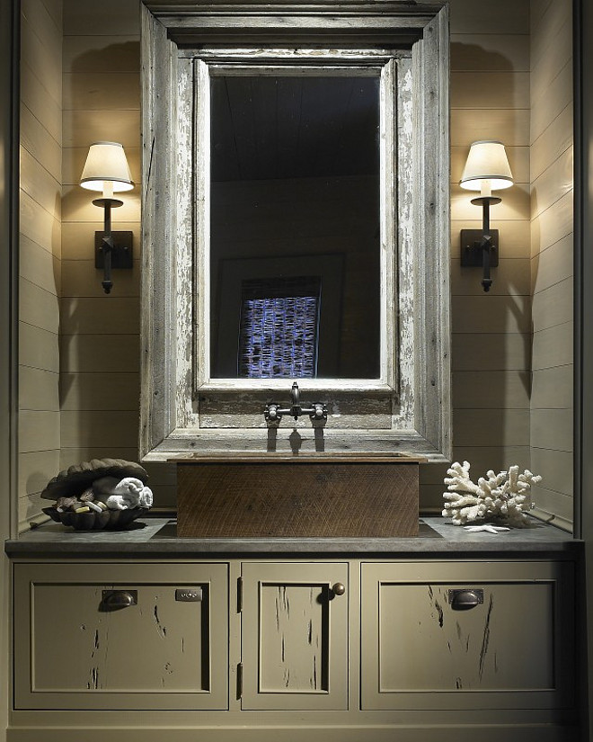 Rustic Bathroom with shiplap walls and custom gray vanity. #Bathroom #Rustic #Interiors #Shiplap #Walls Hickman Design Associates.