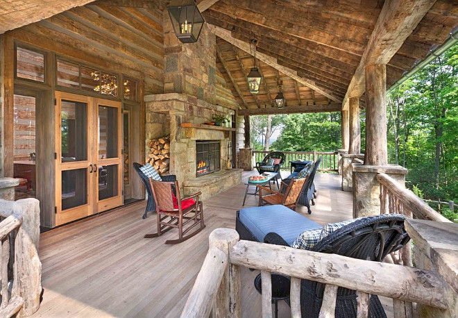 Rustic Home Back Porch with Outdoor Fireplace. #Rustic #Porch #Outdoor #Fireplace #RusticHomes