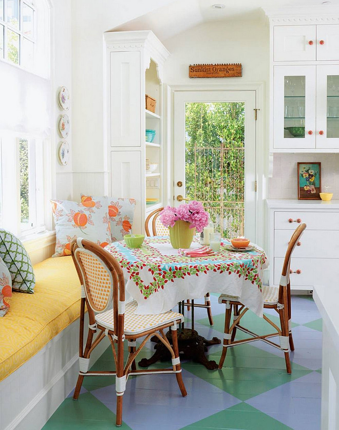 Shabby Chic Breakfast Nook with Banquette - window seat. #ShabbyChic #BreakfastNook #Banquette #Windowseat #Cottage #ColorfulInteriors Alison Kandler Interior Design.