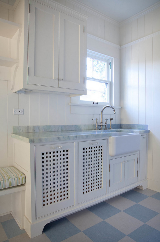 Shiplap Laundry Room Walls. Laundry room with white shiplap wall painted in BM White Dove. #Shiplap #LaundryRoom #BMWhiteDove Kim Grant Design Inc.